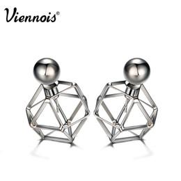 Wholesale vintage geometric earrings - Viennois Gun Color Stud Earrings for Women Vintage Geometric Double Side Earrings Hollow Out Front Back Earrings q170684