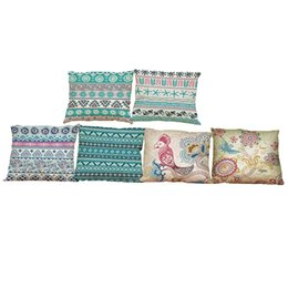 Wholesale Decorative Bohemian Pillows - Bohemian Style Linen Cushion Cover Home Office Sofa Square Pillow Case Decorative Cushion Covers Pillowcases Without Insert(18*18Inch)