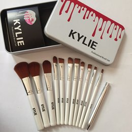 Wholesale Professional Foundation Makeup Brush - Kylie Makeup Brushes 12 pcs Professional Brush Sets Brands Make Up Foundation Powder Beauty Tools Cosmetic Brush Kits with Retail Iron Box