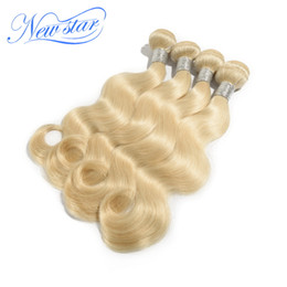 Wholesale New Star Hair Products - Wholesale-New Star hair products bleached Blonde color #613 platinum blonde Body Wave, Brazilian Virgin Human Hair extensions 4pcs lot