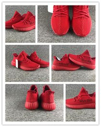 Wholesale Man Spike Street Shoe - 2017 New Hot Sale 350 v2 Boost Kanye West Sneakers Red 350V2 Boost Couple Street Shoes Free shipping