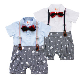 Wholesale Boy Clothings - Newest Jumpsuit Baby Boys Clothes Short Sleeve Gentleman Strap Bowknot Button Clothings crotch Baby Rompers Newborn 100% Cotton Cute Suit