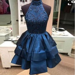 Wholesale Gold Double Neck - Navy Blue High Neck Beaded Short Homecoming Dresses Double Layers Satin Ruffle Short Cute Prom Gown High Quality Cocktail Party Dresses