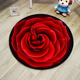 Wholesale White Floral Rug - Red Colour Rose Round Carpet Diameter 40cm 60cm Floor Rug For Living Room Anti-slip Yuga Rugs Modern chair Mats tapis chambre