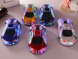 Wholesale Model Cars Led Lights - Mini Crystal Car Model Speaker Colorful LED Light Flash Car Shape Bluetooth Wireless Speakers TF Card FM Radio Handsfree SoundBox MP3 Player