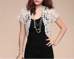 Wholesale Short Sleeve White Bolero - New Fashion Formal Pageant Women Short Sleeve Shrug Bolero Lace Wedding Bridal Cape Jacket Elegant Cape