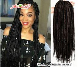 Wholesale Ombre Box - 5 piece 24 Strands Crotchet Braids Ombre Kanekalon Braiding Hair Crochet Braids Box Braids Hair Extensions Senegalese Twist Hair