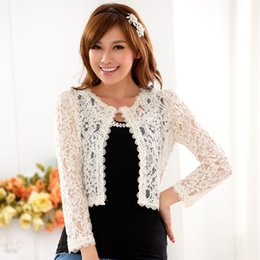 Wholesale Lace Cardigan Short Sleeve - Wholesale- Hot sale!2016 New fashion Ladies All-match Hollow Out Short Lace Jacket Women High Waist Tops Cardigan Clothing Plus Size