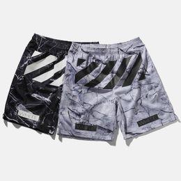 Wholesale Mesh Sport Short Pants - 2017 Off White Summer Shorts Men's Marble Stripes Print Mesh Sports Shorts Elastic Waist Football Basketball Skateboards Short Pants LHG0309