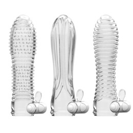 Wholesale Penis Rings Enlarger - Reusable Vibrating Silicone Penis Sleeve Extender Enlarger Condom Cock Rings For Men Spray Delay Vibrator Adult Sex Toys