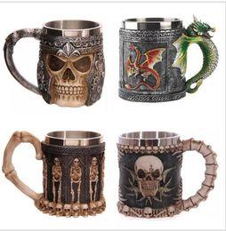 Wholesale Tankard Mug Wholesale - 3D Striking Skull Warrior Tankard Viking Skull Beer Mug 3D Skull Dragon Coffee Tea Bottle Mug Stainless Steel Cup 9 design KKA1779