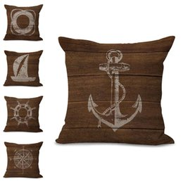 Wholesale Pillow Cases Vintage Linen Cotton - Pillow Cover Decorate Vintage Mediterranean style Throw Pillows Gifts Pillow Case Lifebuoy Anchor Paddle sailboat compass pillowcase 300683