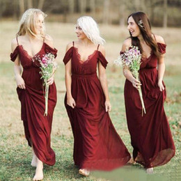 Wholesale Bohemian Off Shoulder Dress Chiffon - Bohemian Country Dark Red Chiffon Bridesmaid Dresses Long 2017 Cheap Spaghetti Off Shoulder Floor Length Maid Of Honor Dress EF4195