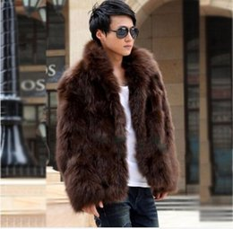 Wholesale Fur Hoodie Clothing - New Fashion Winter Faux Fur Men's Jacket Hoodies Fur Coat Brown White Men Long Sleeves Clothing Winter Outerwear