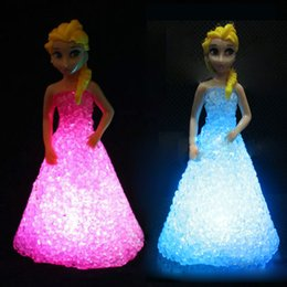 Wholesale Girl Night - Wholesale- Girl gift LED night Lights Kids Toy frozen gradient crystal princess lights dream bedroom decoration children battery abajur