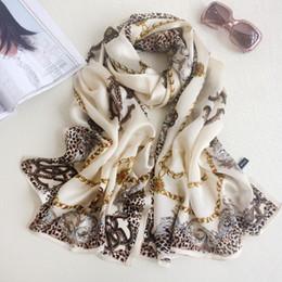 Wholesale Blue Animal Print Scarf - 180*70cm Fashion Print Lady Mulberry Silk Big Rectangle Scarf Leopard Print 100% Pure Silk Pashmina Shawl Wraps Fashion Hijabs Capes