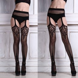 Wholesale Sexy Lace Fishnet Thigh - 1Pair Sexy Lingerie Lace Garter Belt Set with Fishnet Mesh Thigh High Stockings Pantyhose for Women Free Shipping&Wholesale