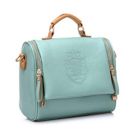 Wholesale Wholesale Leather Stamps - Wholesale- New Women 2016 Vintage Preppy Style PU Leather Women's Handbag High Quality Fashion Bag Tote Shoulder Stamp Messenger Bags