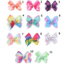 Wholesale Colorful Hair Ombre - 20pcs Newest 4inch bowknot hairpins with diamond girl barrette ombre Rainbows colorful bow hair clip Hair Accessories HD3502