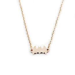 Wholesale Batman Charms - Wholesale 10Pcs lot 2017 Limited Hip Hop Jewelry Pendant Batman Gold Chain Choker Necklaces Cute Bat Silver Necklaces Men Women Jewellery