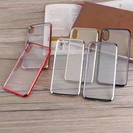 Wholesale Iphone Soft Glossy Case - Bling Metallic Soft TPU Case For Iphone 8 8G 8th Clear Hybrid Chromed Plating Bumper Silicone Gel Rubber Back Skin Cover Glossy Business