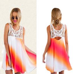 Wholesale Rainbow Dress Maxi - Fashion sexy casual dresses for women clothes plus size clubwear lace short dress clothing maxi stitching rainbow dress beach summer dresses