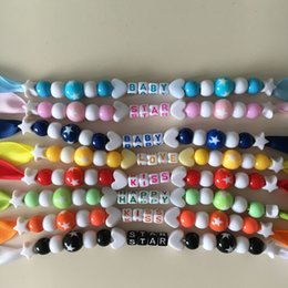 Wholesale wholesale dummy clips - Personalized -any name color beads with solid Grosgrain pacifier clips pacifier holders chain dummy clip  Teethers clip for baby