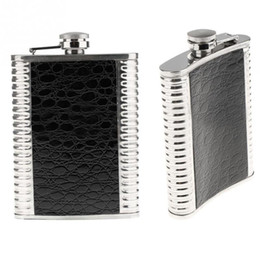 Wholesale Gift Flasks - Wholesale- 8oz Stainless Steel Leather Liquor Hip Flask Fathers Day Gift 9.5*2.2*13.5CM