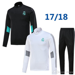 Wholesale Pant Sets - 17 18 real madrid tracksuit training sweater suit long pants 2017 2018 real madrid trainning sweater top set jacket RONALDO