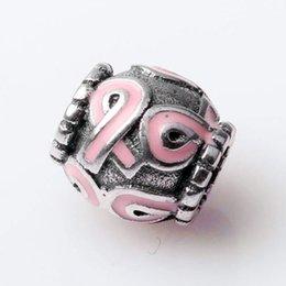 Wholesale Pandora Pink Ribbon - Authentic 925 Sterling Silver Bead Charm Vintage Pink Enamel Silk Ribbon Beads Fit Women Pandora Bracelet Bangle Diy Jewelry HKA3358