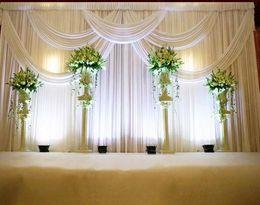 Wholesale Curtains Marriage - 3*6m Wedding Party Stage Celebration Background Satin Curtain Drape Pillar Ceiling Backdrop Marriage decoration Veil WT016