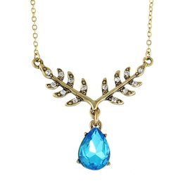 Wholesale Leaf Necklace Bronze - Vintage Jewelry Boho Necklace Bronze Color Leaf Bronze with Rhinestone Blue Crystal Water Drop Pendant Neckalce Bijuteria