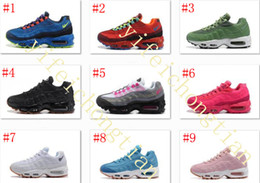 Wholesale Cream Coloured Boots - Drop Shipping New 9 Colour Running Shoes Women Air Cushion 95 OG Sneakers Boots Authentic 95s New Walking Discount Sports Shoes Size 36-40