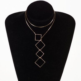 Wholesale Lariat Necklace Gold - Vintage Style Chic Y Shaped Gold Color Necklace For Women Bar Circle Lariat Necklace Pendant #N086