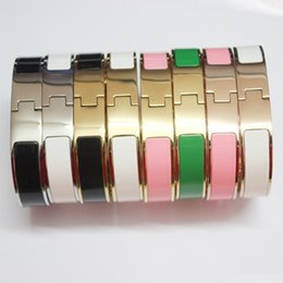 Wholesale Gold Ring Punk - 316L Stainless Steel 12mm H bracelet fine Brand Wristband Women love cuff Bangles punk bracelet for Femme Pulseira