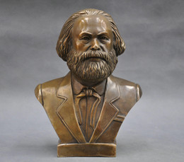Wholesale German Folk - 7'' German Great Communist Carl Marx Bust Bronze Statue