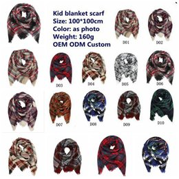Wholesale Wholesale Plaids - Kids Plaid Scarf 100*100cm Tartan Scarf Neck Warmer Scarfs Boy Girl Children Lattice Tassels Scarf Shawl 10 Styles 30pcs OOA2753