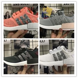 Wholesale Cheap Sequin Shoes Women - 2017 Cheap Wholesale NMD R1 Runner Primeknit Men's & Women's Sequins series Classic Cheap Fashion Sport Shoes size 36-45 free shipping