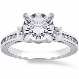 Wholesale Si Diamond Ring - G SI 2 1 4 Ct Round Enhanced Diamond Engagement Ring 14K White Gold