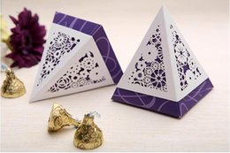 Wholesale Triangle Boxes Wedding - 3 color floral hollow triangle foladable wedding favor box flat packed free shipping candy paper box gift box return packaging high quality