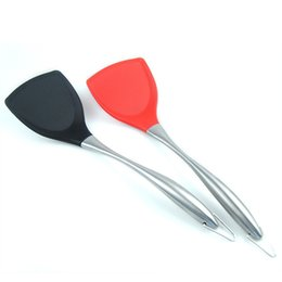 Wholesale Kitchen Spatula Stainless Steel - Silicone Spatula With Stainless Steel Handle Non Stick High Temperature Resistance Pot Shovel Hot Kitchen Tool 8 81ds F R