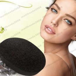 Wholesale Charcoal Pads - 2017 NEW Magic Bamboo Charcoal Black Natural Konjac Konnyaku Jelly Fiber Face Cleansing Wash Sponge Puff Pad Free Shipping MYY