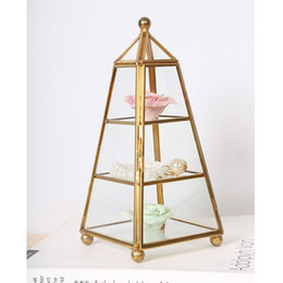 Wholesale Metal Garden Tables - Home decorative vase garden art flower pot planters depot metal stand shelf table decoration Geometric organizer jewelry storage HWD68