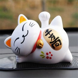 Wholesale Lucky Cat Waving - Wholesale-FD4747 new Solar Powered 4'' Maneki Neko Lucky Waving Beckoning Fortune Cat Car 1pc