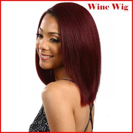 "Wholesale Kanekalon Cosplay Wig - Red Wine Wig Short 100% Kanekalon Fiber 14""(35cm) 160g pc Women's Girl's Cosplay Short Synthetic BOB Hair Wigs Christmas Party bea"