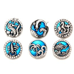 Wholesale Marines Charms - Mix Colors Rhinestone Enamel Blue Marine Life Noosa Chunks Metal Ginger 18mm Snap Buttons For Bracelet Jewelry Findings