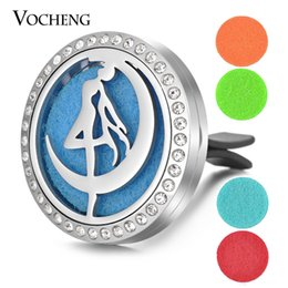 Wholesale Moon Clips - Car Aromatherapy Locket Vent Clip 316L Stainless Steel Pendant Moon Crystal Magnetic without Felt Pads VA-343