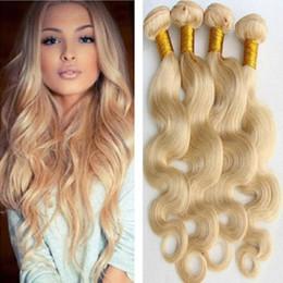 Wholesale 22 Wavy Blonde Hair Extensions - top 8a virgin brazilian #613 platinum blonde body wavy hair weave extensions virgin blond body wave 3 pieces