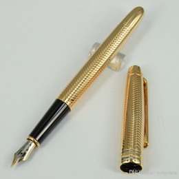 Wholesale Stainless Steel Pen Clips - Luxury MB Pen P163 Germany Brand Golden wave-drawing-flower option golden clip stationary 14k 4810 Fountain pens with serie number