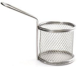 Wholesale French Fry Basket - Novelty Kitchen Cooking Tools Mini Stainless Steel French Fries Net Fry Fryer Basket Small Round Net 9x8x7.5cm LLFA